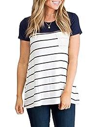 996f49ceca5f Simple-Fashion Damen Sommer Kurzarm Bequeme Gestreift Casual Oberteile  Bluse Tops Hemden Shirt Rundhals T