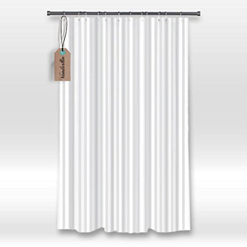 Hotel Fabric Duschvorhang (JHDHVRFR Hotel Fabric Shower Curtain Liner,White Tonal Stripe- Mildew Resistant, Water Repellent, and Washable,Standard Size 66 inch x 72 inch Long)