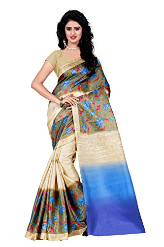 Trendz Printed Cotton Silk Brown Saree(TZ_Mayur_Pankh)
