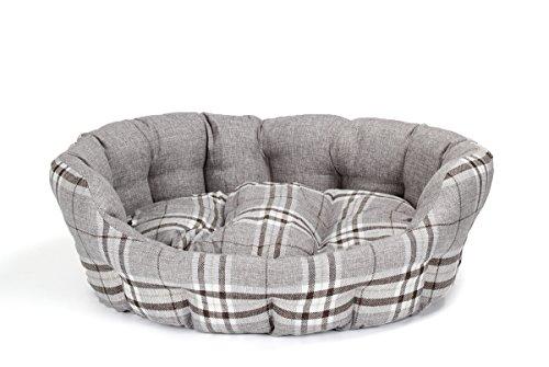 Hundebett modern grau / Karo, 74 x 63 cm mit Wendekissen, Hundekissen