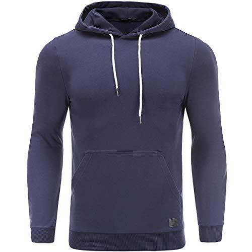 Turnglam Herren Kapuzenpullover Uni schwarz Hoodie Freizeit Pullover Slim Fit mit vorderer Tasche Kängurutasche