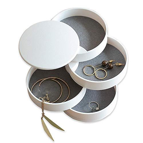 4-Tier Schmuck Organizer Box, leegoal 360 Grad drehbar Schmuck Turm Tablett mit Deckel Halsketten Armbänder Ringe Ohrringe Nachttischhalter Zubehör Aufbewahrungsbox für Mädchen Frauen -