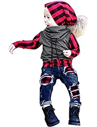 Longra Baby Kinderkleidung Herbst Winter Bekleidung Sets Jungen Kariert Kapuzenpullover Rollkragen Pullover + Jeans Hosen Kindermode Hoodies Sweatshirt Jacke Mantel
