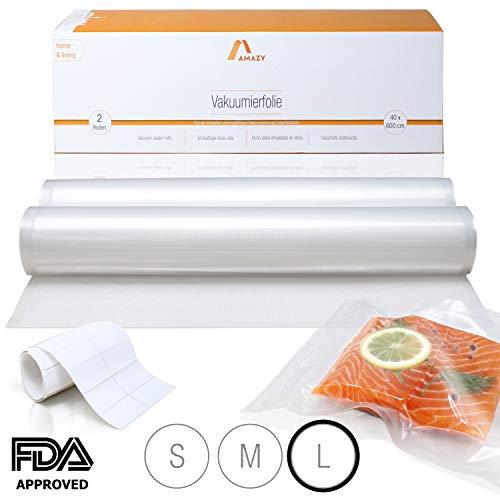 Amazy Vakuumierfolie (2 Rollen | 40 x 600 cm) inkl. Etiketten - 2 individuell zuschneidbare Folienrollen für schnelles Vakuumieren von Lebensmitteln, für alle gängigen (Balken-) Vakuumierer geeignet