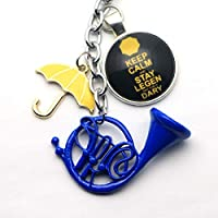 VAWAA A Lot Himym How I Met Your Mother Yellow Umbrella Mother Blue French Horn Keychain