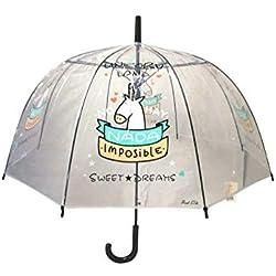 Paraguas Transparente Unicorn Land Frase No Hay Nada Imposible
