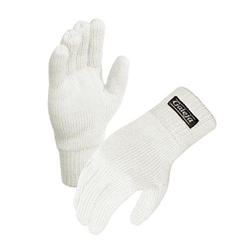 Galeja Herren Handschuhe Thinsulate Fleecefutter Fingerhandschuhe isoliert Gr. 10/11 Farbe Wollweiss Strickhandschuhe Funktionshandschuh
