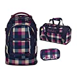Satch Schulrucksack-Set 3-tlg Pack Berry Carry 966 karo lila-blau