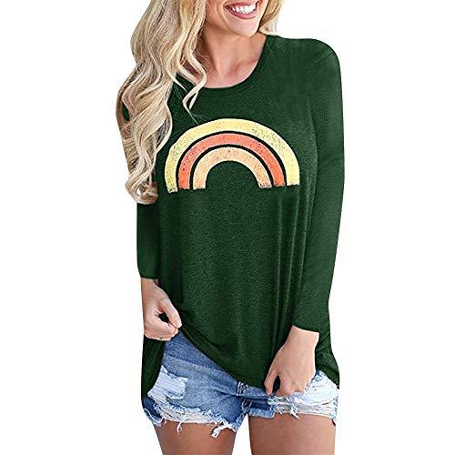 OSYARD Damen Rainbow Drucken Rundhalsausschnitt Langarm Sweatshirts, Frauen Casual Graphic Rainbow Printed Lose LangäRmelige Bluse T-Shirt Tops (S, Grün)