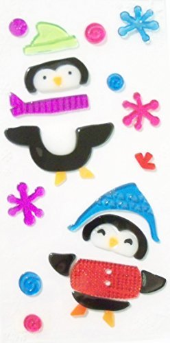 Winter Reusable Gel Window Clings ~ Penguins Dressed for Winter, Snowflakes, Snowballs (22 Clings, 1 Sheet) by Impact Innovations Penguin Gel