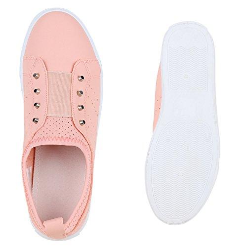 Damen Sneakers Slipper Nieten Slip-ons Freizeit Sportschuhe Peach