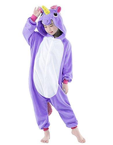 Pyjamas Kinder Kostüm Jumpsuit Tier Schlafanzug Cosplay Karneval Fasching (XXL: für Höhe 135-144 cm, lila)