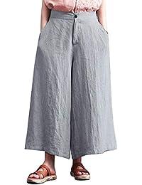 LHWY Hosen Damen Baggy Hohe Taille KnöPfe ReißVerschluss Breite Beine Lose  Hosen Hose 7579cc5db1