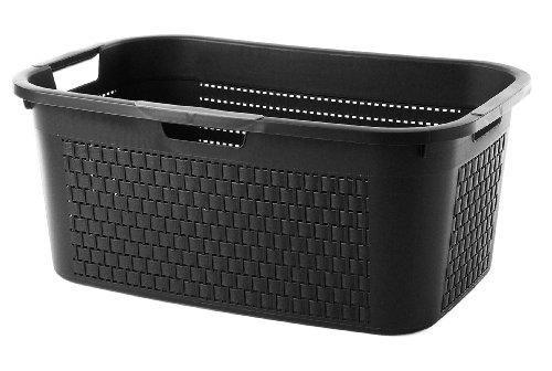 """Sundis Wäschekorb """"Country"""" in schwarzer Rattan Optik - stabiler Kunststoff Wäschesammler, 40Liter - leichte Wäschetruhe mit guter Belüftung - angenehmes Tragen der Wäschebox - 59 x 39 x 25.2 cm - schwarz"""