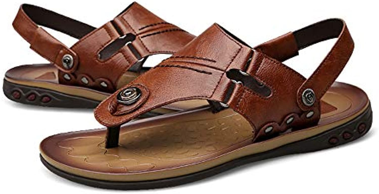 Sandalias de cuero genuino Zapatillas de doble uso Hombres Movimiento de verano de los dedos expuestos Inicio...