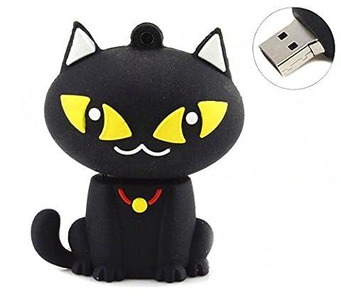 Cat / Puss USB Flash Drive 8GB - Memory Stick Data Storage - Pendrive - Black