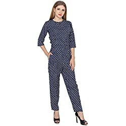 My Swag Women's Black Polka Dot Crepe Jumpsuit (Blue, Small)