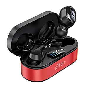 pTron Bassbuds Plus in-Ear True Wireless Stereo Headphones with Mic, Deep Bass TWS Earbuds, Made in India Bluetooth Earphones with Voice Assistance, IPX4 Sweat & Water Resistant Earbuds (Red & Black)