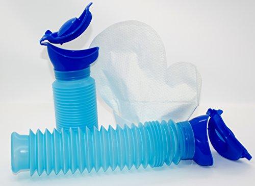 Mobiltoilette Uriwell und 12 Stück Feuchthandschuhe im wiederverschließbaren Beutel Hygieneset