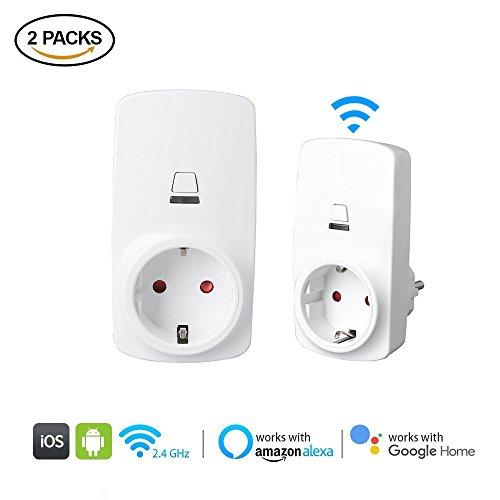 2 Stück Wifi Intelligente Alexa Steckdose, Gindoly Smart Wifi Plug EU-Stecker mit Timer-Funktion und Remote Controller Funktion Arbeit mit Alexa Echo, Echo Dot und Google Home für IOS Android App (2)