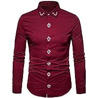 ¡Liquidación Camisas Militares del Camuflaje de los Hombres, Yvesland Hipster Ajuste Largo del botón de la Manga del Bordado Abajo Camisas de Vestir Blusas de Las Tapas