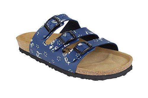 JOE N JOYCE Paris Synsoft Soft-Fußbett mit Blätter Muster Pantoletten Schmal Leaves Blue