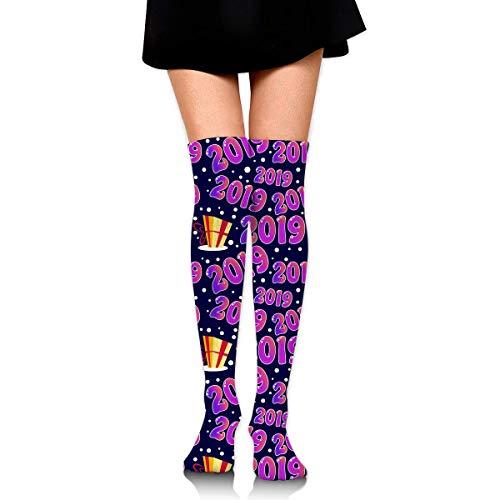 DGHKH Seamless 2019 Pattern with Present Knee High Graduated Compression Socks for Unisex - Best Medical, Nursing, Travel & Flight Socks - Running & Fitness (Halloween 2019 Frankreich)