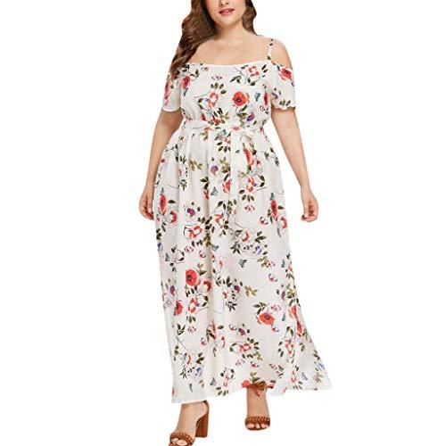 GOKOMO Damen Lange Kleid Kleider Sommerkleider Maxikleider Blumenkleid Blumedrucken Strandkleid Rundhals High Waist Plus Size