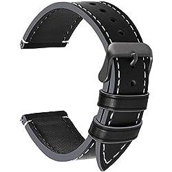 Fullmosa 14mm/16mm/18mm/20mm/22mm/24mm Bracelet Montre en Cuir, 4 Couleurs Montre Bracelet Femme&Homme,Noir + Boucle Grise Fumée,24mm