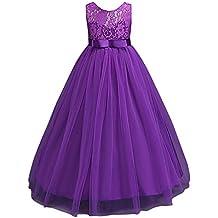 Vestido de Princesa de Niñas Vestidos Sin Mangas Vestidos Elegante de Coctel Fiesta Largos de Noche Bodas y Ceremonia Púrpura 11-12 años