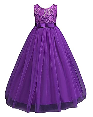 Robe de Princesse Fille Robe de Mariage Demoiselle d'Honneur en Dentelles Taille Haute Violet 11-12 ans