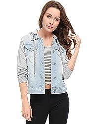 Allegra K Damen Langarm Patchwork Hoodie Jeansjacke Jacke mit Brusttasche Hellblau XS (EU 34)