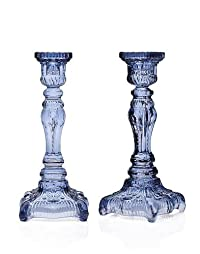 Yorktown Blue Crystal Candlesticks - Set OF 2