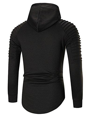 YCHENG Herren Kapuzenpullover Hoodie Sweatshirt Langarm Sweatjacke Pullover Schwarz