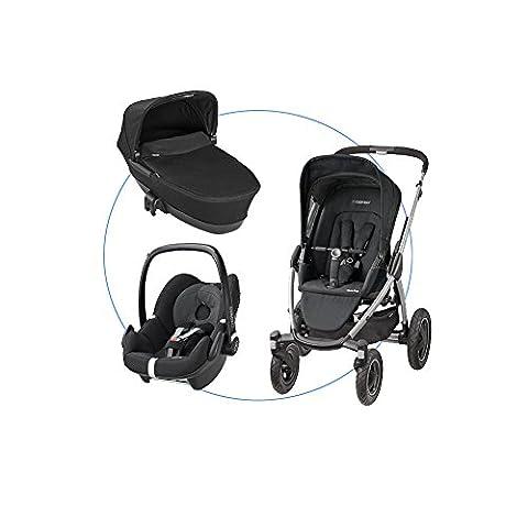 Maxi-Cosi Komplettset: Babyschale - Kinderautositz Gruppe 0+ (0-13 kg) + Mura 4 Plus Kinderwagen + Faltbarer Kinderwagenaufsatz für Mura, Mura Plus und Elea, black