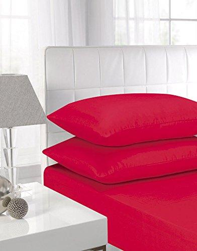 100% Egyptian Cotton PillowCase Pair (Red, PillowCase Pair)