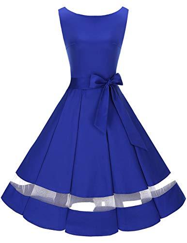Royal Blau Formale Kleider (bridesmay 50s Retro Vintage Rockabilly Kleid Knielang Partykleider Cocktailkleid Abendkleider Royal Blue S)