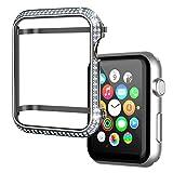 BRINCH Diamante Caja de Reloj Handcrafted Zircon Reloj Bumper Chapado en Oro 44mm Reloj Bisel Cubierta Compatible con Apple Watch Serie 4 para Hombres/Mujeres(44 mm, Gris)