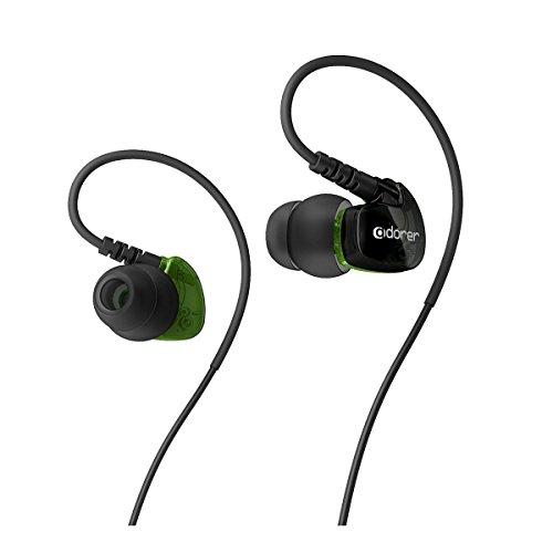 Adorer Auriculares deportivos, AD1 Anti-sudo In-Ear Cascos con micrófono, aislamiento de ruido premium para iPhone, iPad, Huawei, XiaoMi, Android, MP3 etc - Negro verde