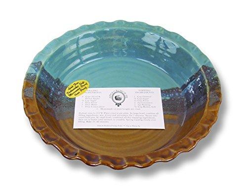 Clay In Motion Handmade Ceramic Deep Dish Pie Plate - Ocean Tide by Clay in Motion Deep Dish Pie Plate