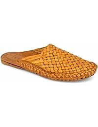 Krafto Men's Kolhapuri Yellow Leather Slippers