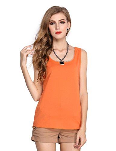 Bestgift Damen Bluse 13 Farbe Sommer Shirts Orange