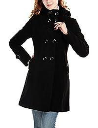 SMITHROAD Damen Herbst Winter Zweireiher Mantel Jacke Reverskragen mit  Kapuze mit Gürtel Mittel Lang Elegant 57fa988557