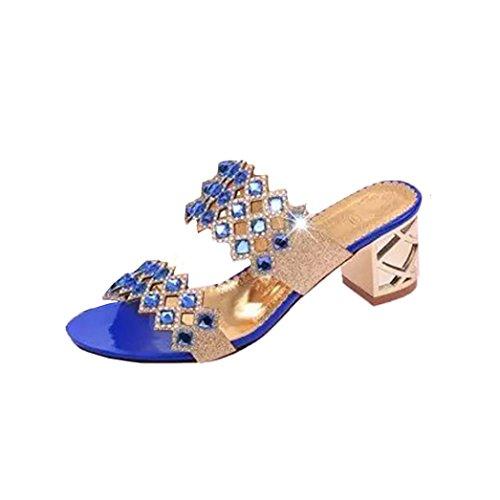 DEELIN Schuhe Damen Sandale Neue Sommermode Frauen Große Strass High Heel SandalettenStrand (35, Blau) (Neue Mädchen Sandalen)