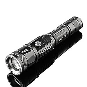 WD TanLu TL-S6 Rechargeable 5-Mode 1x Cree T6 Zoom LED Flashlight(800LM, 1x18650/1xAAA, Black)