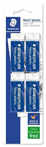 STAEDTLER confezione da 4 gomme da cancellare Mars Plastic, colore bianco, senza ftalati né lattice, ottime prestazioni e lunga durata, 52650BK4DA