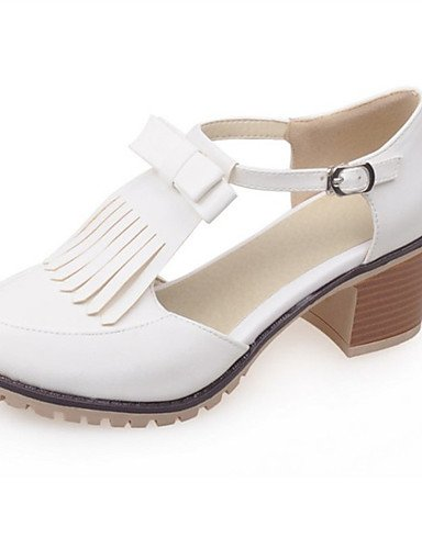 WSS 2016 Chaussures Femme-Mariage / Habillé / Décontracté / Soirée & Evénement-Jaune / Rose / Blanc-Gros Talon-Talons-Talons-Similicuir white-us6.5-7 / eu37 / uk4.5-5 / cn37
