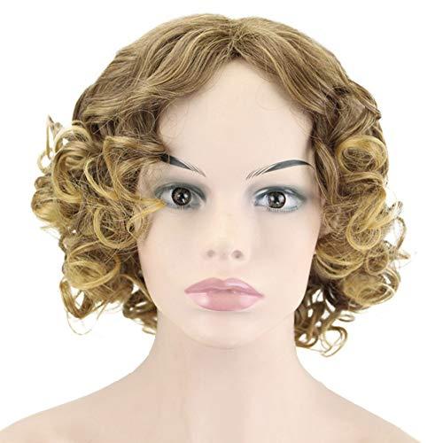 Lyhd parrucche sintetiche ondulate ricce corte dei capelli delle parrucche per le ragazze 13,7 pollici delle donne, bionda,model2
