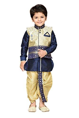 AJ Dezines Kids Dhoti Kurta Waistcoat Set for Boys (DK_1087_BLUE_5)