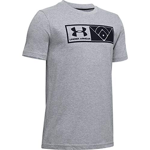 Under Armour Jungen Il Graphic Authenticator kurzärmelig, Steel Light Heather (035) / Schwarz, Youth - Medium
